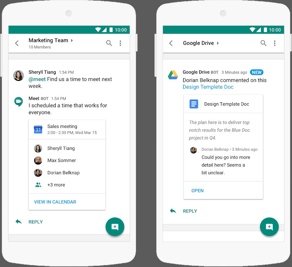 google chat mockup